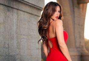 Melyssa Grace, девушка, красное платье, макияж