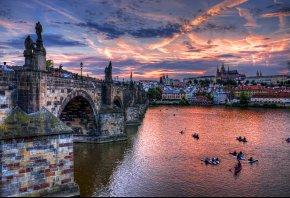 Prage, Чехия, Прага, мост, река, город, вечер, тучи, облака