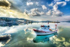 Обои катер, вода, море, причал, корабль