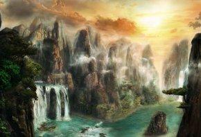 фантастический мир, скалы, водопад, пейзаж, горы