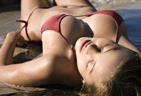 девушка, пляж, купальник, вода