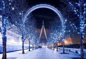 London, Лондонский глаз, Англия, Великобритания, колесо обозрения, ночь, освещение, дорожка, деревья