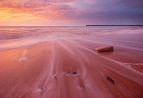 пена, теплое море, песок, волны, Закат, розводы