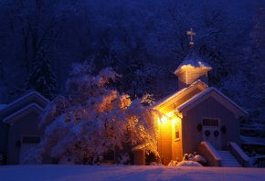 церковь, свет, снег, зима, деревья