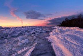 закат, река, лёд, пейзаж, снег