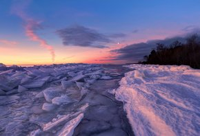 Обои закат, река, лёд, пейзаж, снег