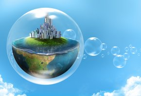 вода, облака, пузыри, Креатив, планета, город