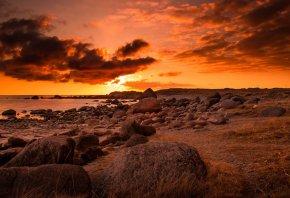 закат, море, камни, облока, пейзаж