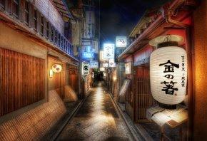 Япония, дороги, полоса, знаки, иероглифы, фонарь