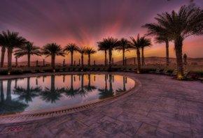 отель, бассейн, вечер, закат, пустыня, пальмы