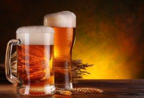 Бокал, стол, кружка, пиво, пена, колосья