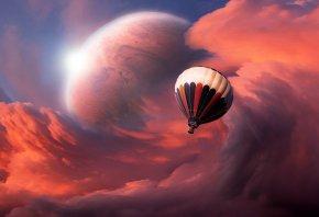 Обои космическое пространство, путешествие, облака, планета