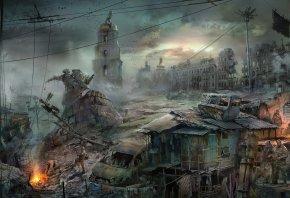 город, апокалипсис, пустош, конец света, разруха