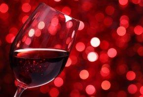 вино, красное, бокал, стекло, боке, огни