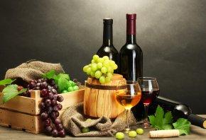 вино, штопор, бутылки, Стол, бочонок, белое