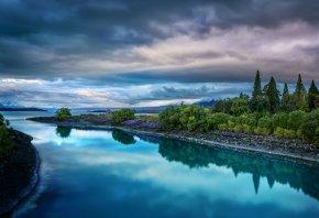Новая Зеландия, New Zealand, озеро, небо, тучи, река