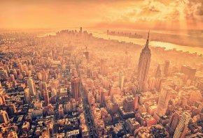 облака, New york, дома, нью йорк, лучи солнца