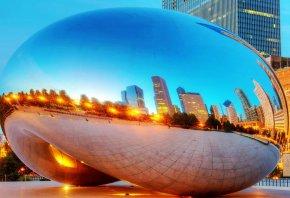 США, Чикаго, небоскребы, Миллениум парк, монумент, отражение, вечер
