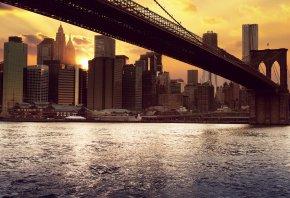 вода, New york, океан, река, мост, море