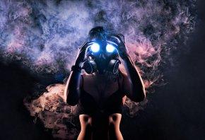 противогаз, девушка, дым, свет