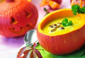 семечки, хэллоуин, halloween, петрушка, тыква, Суп