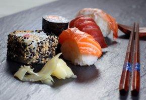 палочки, суши, рыба, красная