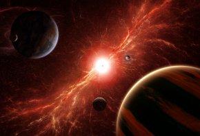 Обои звезды, планеты, вселенная, туманность, пустота