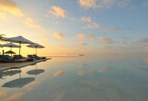 вода, закат, лодка, песок, отдых, зонтики, палмы