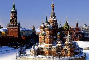 Обои москва, кремль, зима, храм, василия блаженного