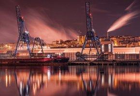 Bilbao, город, ночь, порт, пристань
