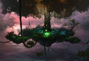 дерево, озеро, канаты, лианы, остров, сказка