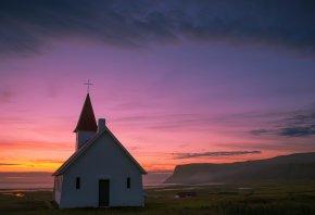 церквушка, холм, вдали, море, вечер, закат, небо, облака