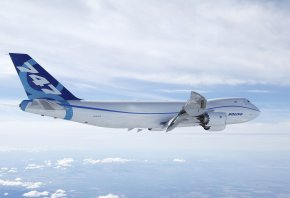 Boeing, 747-8, Грузовой, Небо, День, Боинг