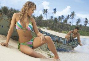 блондинка, пляж, песок, лодка, купальник