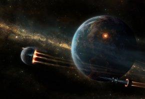 Обои планета, космос, звезды, космолеты