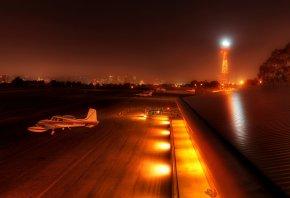 аэродром, самолет, полоса, огни, ангар