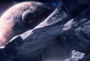 Обои планета, льды, спутник, звезды, арка
