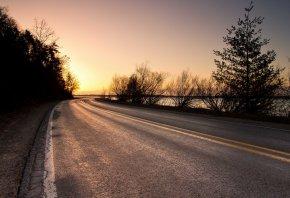 дорога, закат, пейзаж, деревья