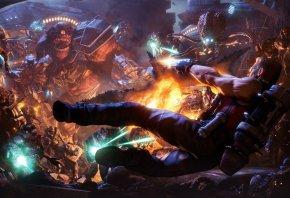 Duke Nukem, монстры, прыжок, выстрелы, огонь