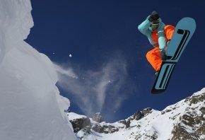 сноуборд, горы, снег, прыжок, полет