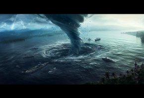 tornado, стихийное бедствие, стихия, воронка, Водоворот, корабли