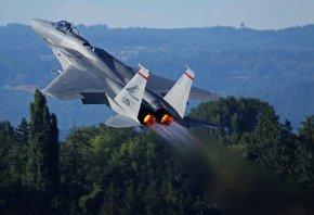 Обои сопла, взлет, mcdonnell douglas f-15 eagle, тепловой след
