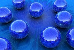 3Д, шарики, отражение, поле