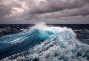волна, пена, буря, ветер, вода