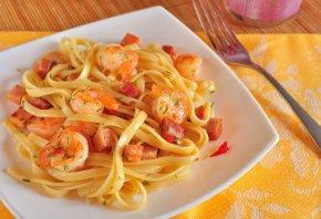 макароны, лапша, креветки, соус, вкусно