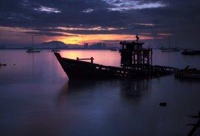 Malaysia, ночь, пейзаж, закат, корабли