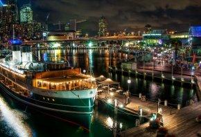 ночной город, пристань, корабль, огни, ночь