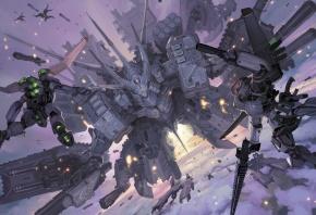 меха, роботы, гигантский, в небе, полет, корабли