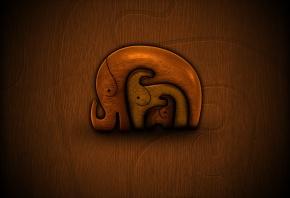 Дерево, слоны, мама, малыши, фон