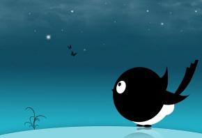 Вектор, минимализм, птица, звезды